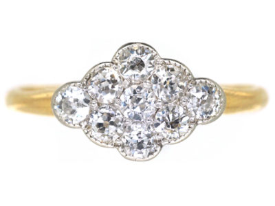 Edwardian 18ct Gold & Platinum Diamond Set Cluster Ring