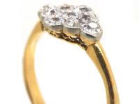 Edwardian 18ct Gold & Platinum Diamond Set Cluster Ring