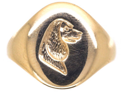 9ct Gold Signet Ring with Intaglio of a Spaniel