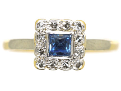 Art Deco 18ct Gold & Platinum Diamond & Sapphire Square Ring