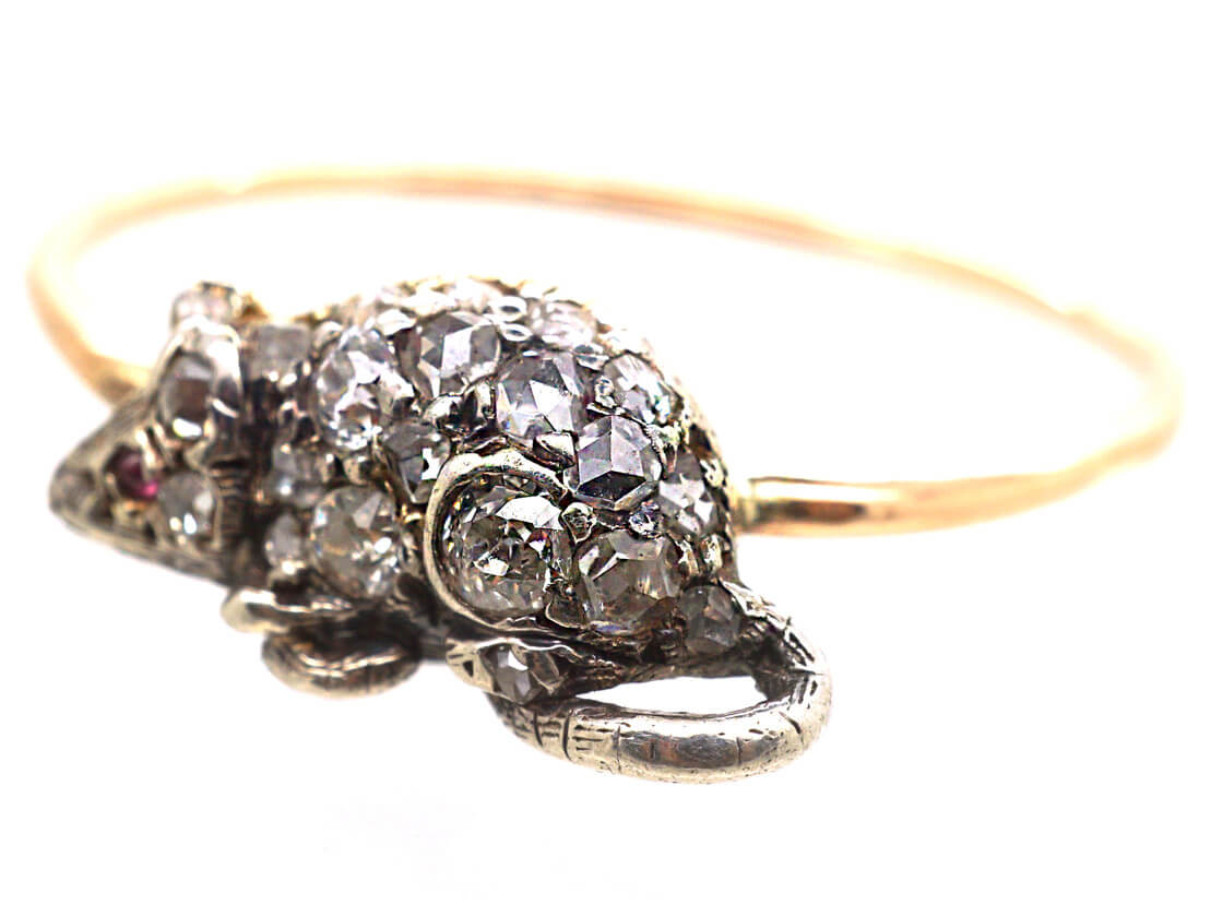 Gold & Diamond Mouse Ring