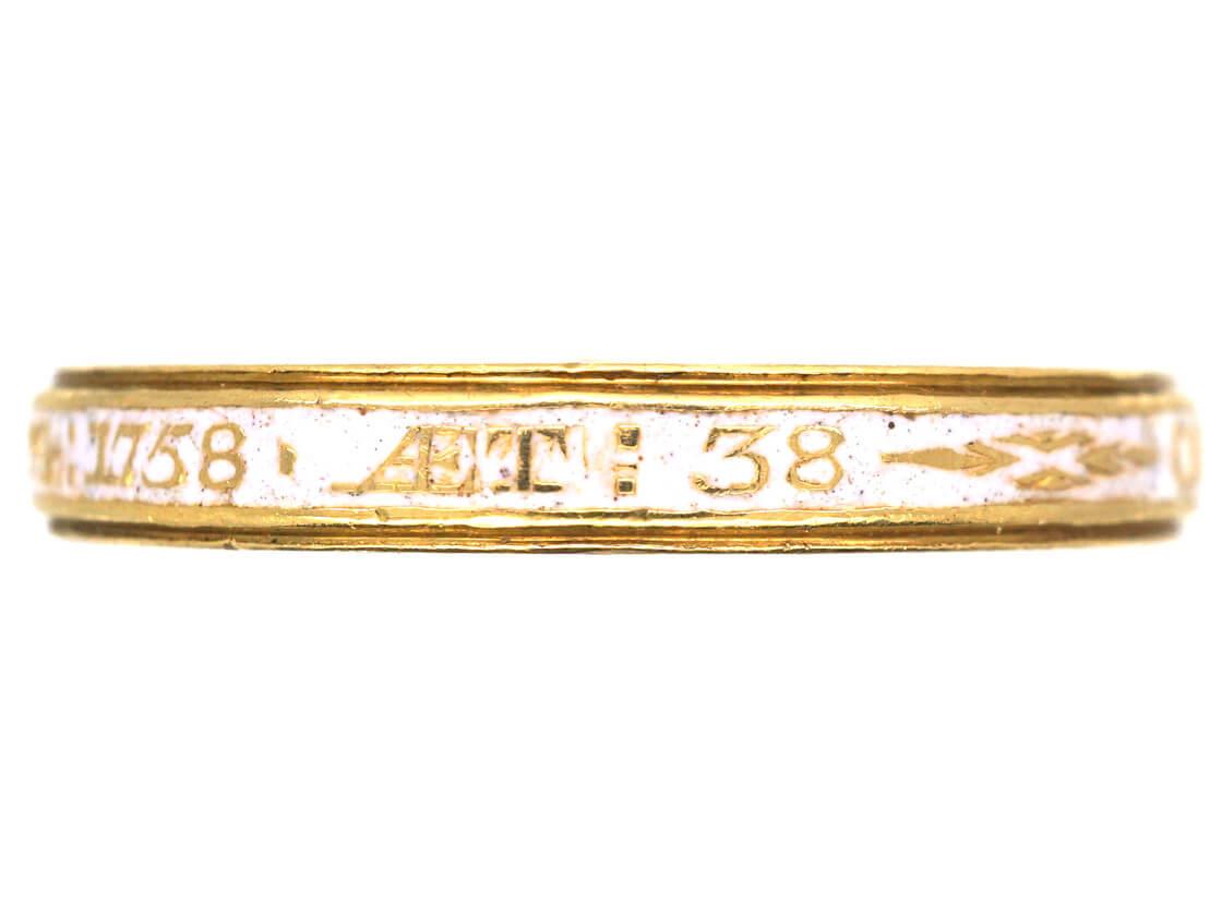 Georgian 18ct Gold & White Enamel Memorial Ring