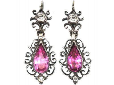 Edwardian Pink & White Paste Silver Drop Earrings