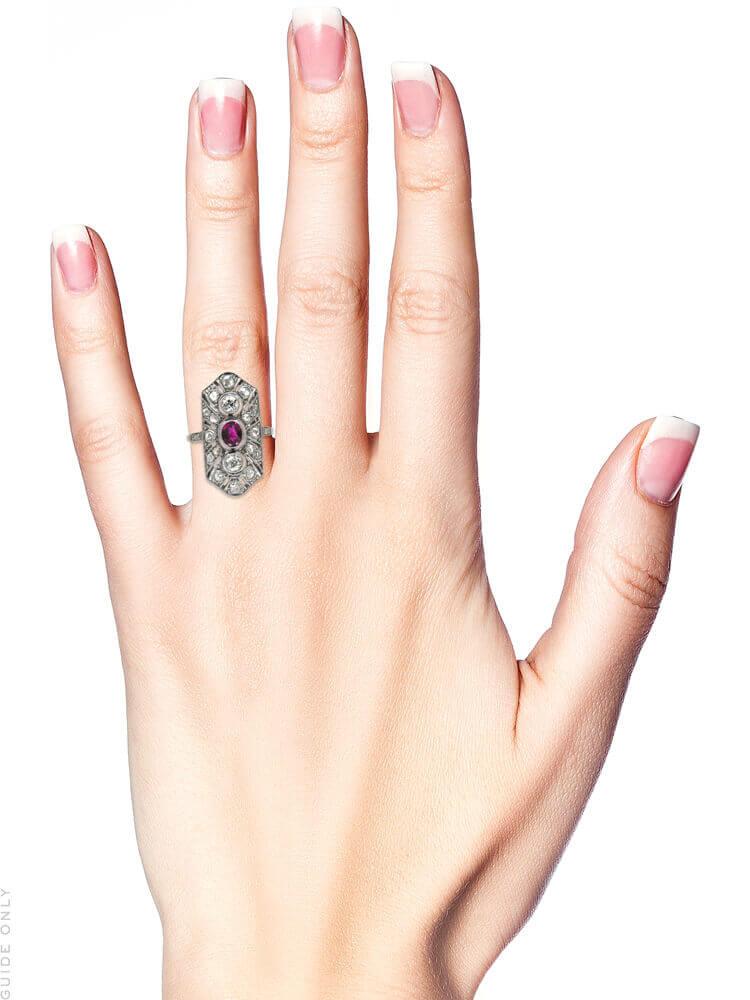 Art Deco Ruby & Diamond Rectangular Ring