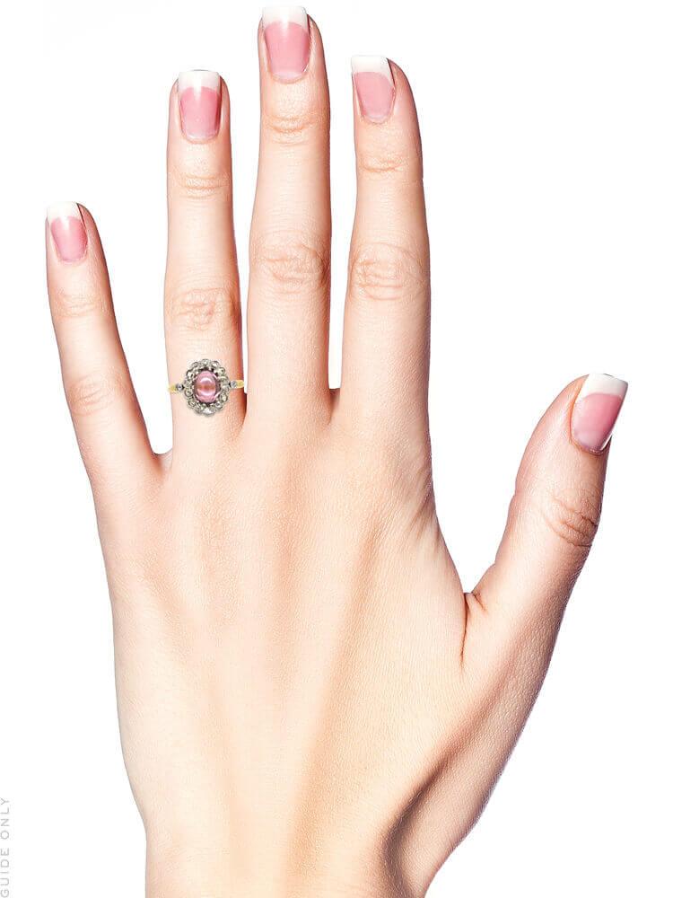 Edwardian 14ct Gold, Diamond & Cabochon Pink Tourmaline Cluster Ring