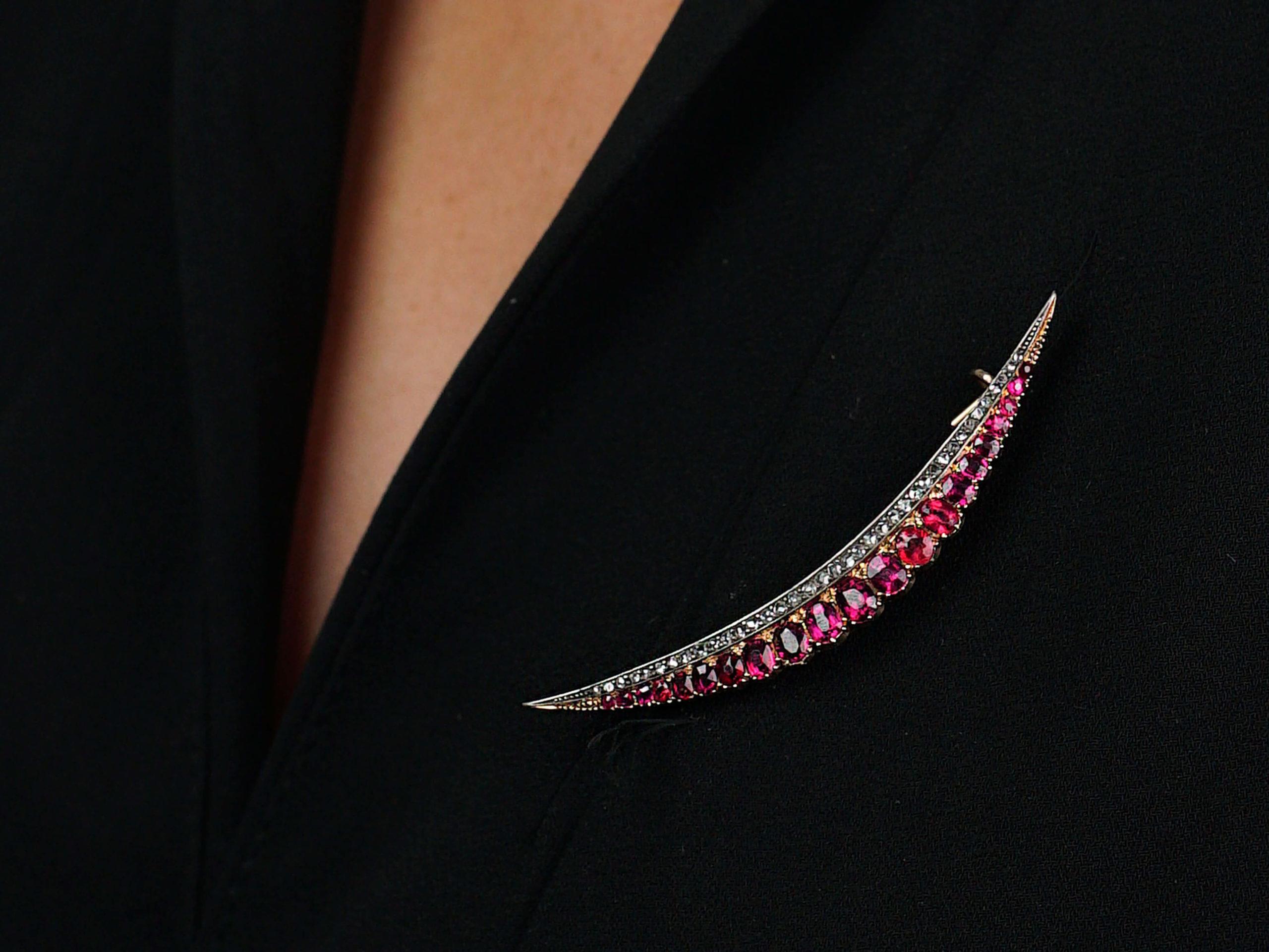 Victorian 15ct Gold, Ruby & Diamond Crescent Brooch