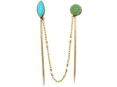 Edwardian Blue Chalcedony & Jade Double Tie Pins on 15ct Gold & Natural Pearl Chain in Original Case