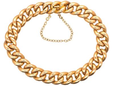 Edwardian 15ct Gold Curb Bracelet