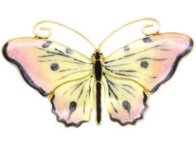 Norwegian Silver & Enamel Butterfly Brooch by Olaf Fritjof Hjortdahl