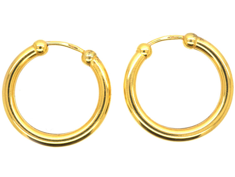 1f88ba835 9ct Gold Hoop Earrings - The Antique Jewellery Company