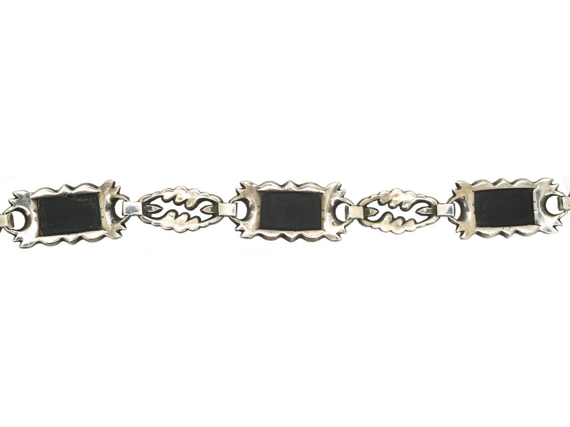 Art Deco Silver, Marcasite & Onyx Bracelet