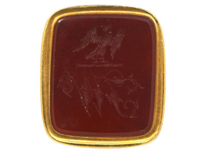 Victorian 18ct Gold Seal with Carnelian Base with Intaglio of Eagle & Monogram J W