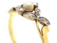 Art Nouveau 18ct Gold, Rose Diamond & Natural Pearl Ring