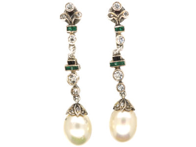Art Deco Silver, Faux Pearl & Paste Drop Earrings