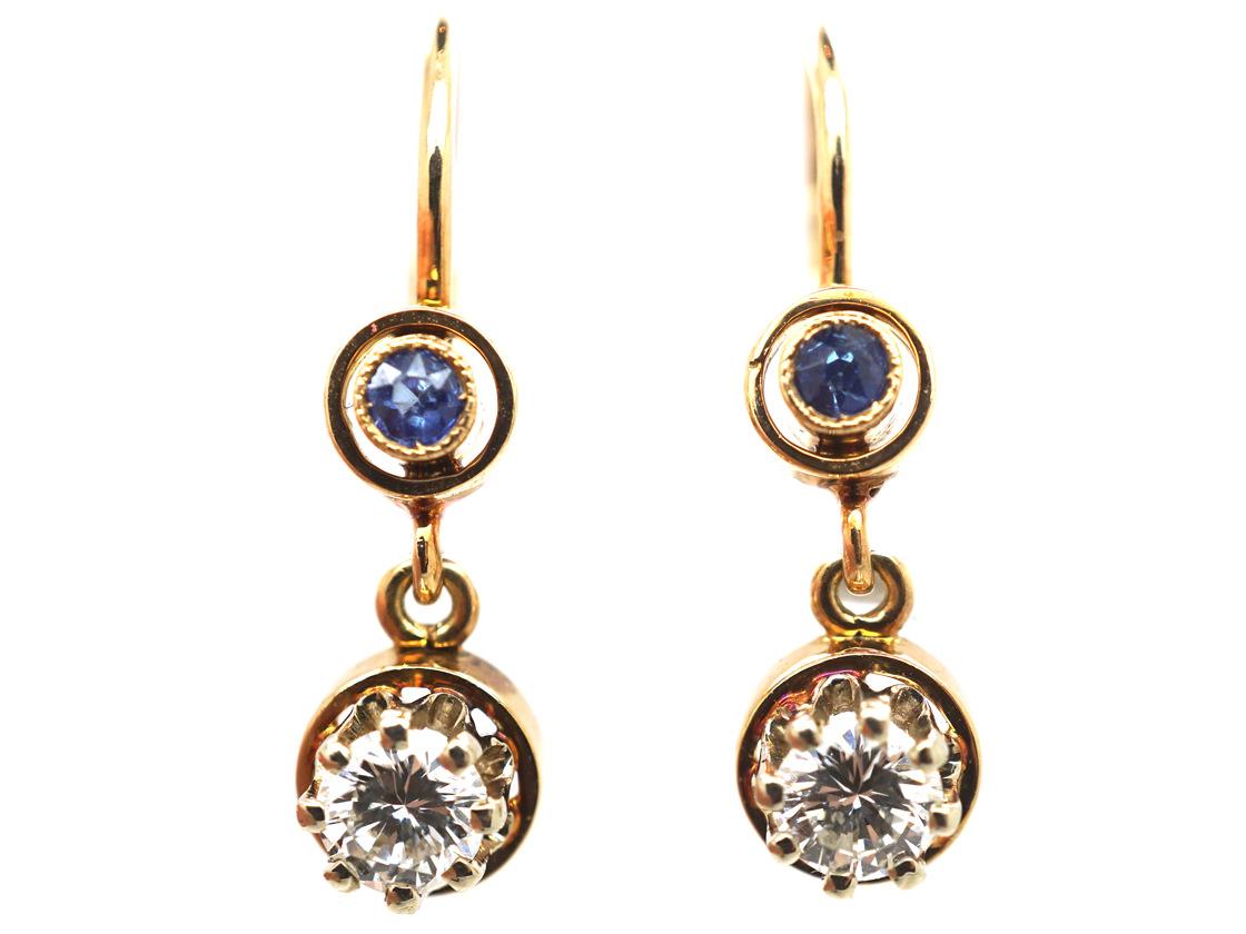 Edwardian 14ct Gold, Sapphire & Diamond Drop Earrings