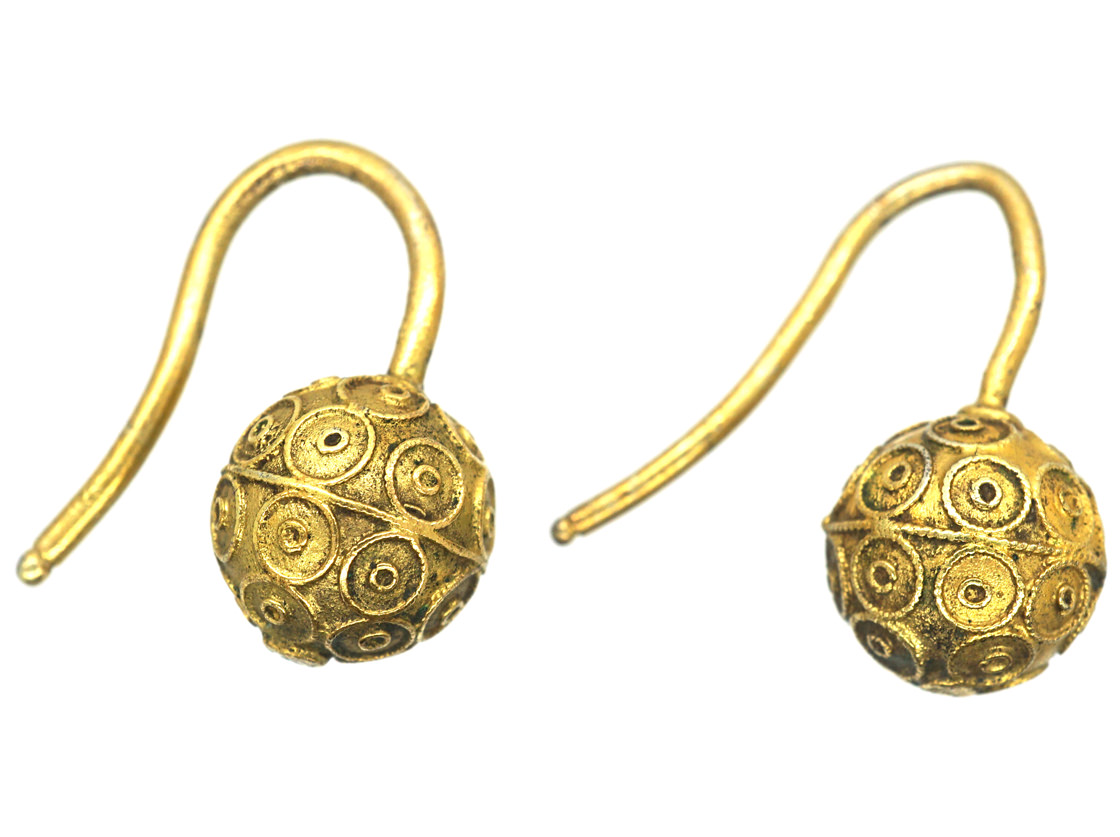 Victorian 15ct Gold Etruscan Style Ball Earrings