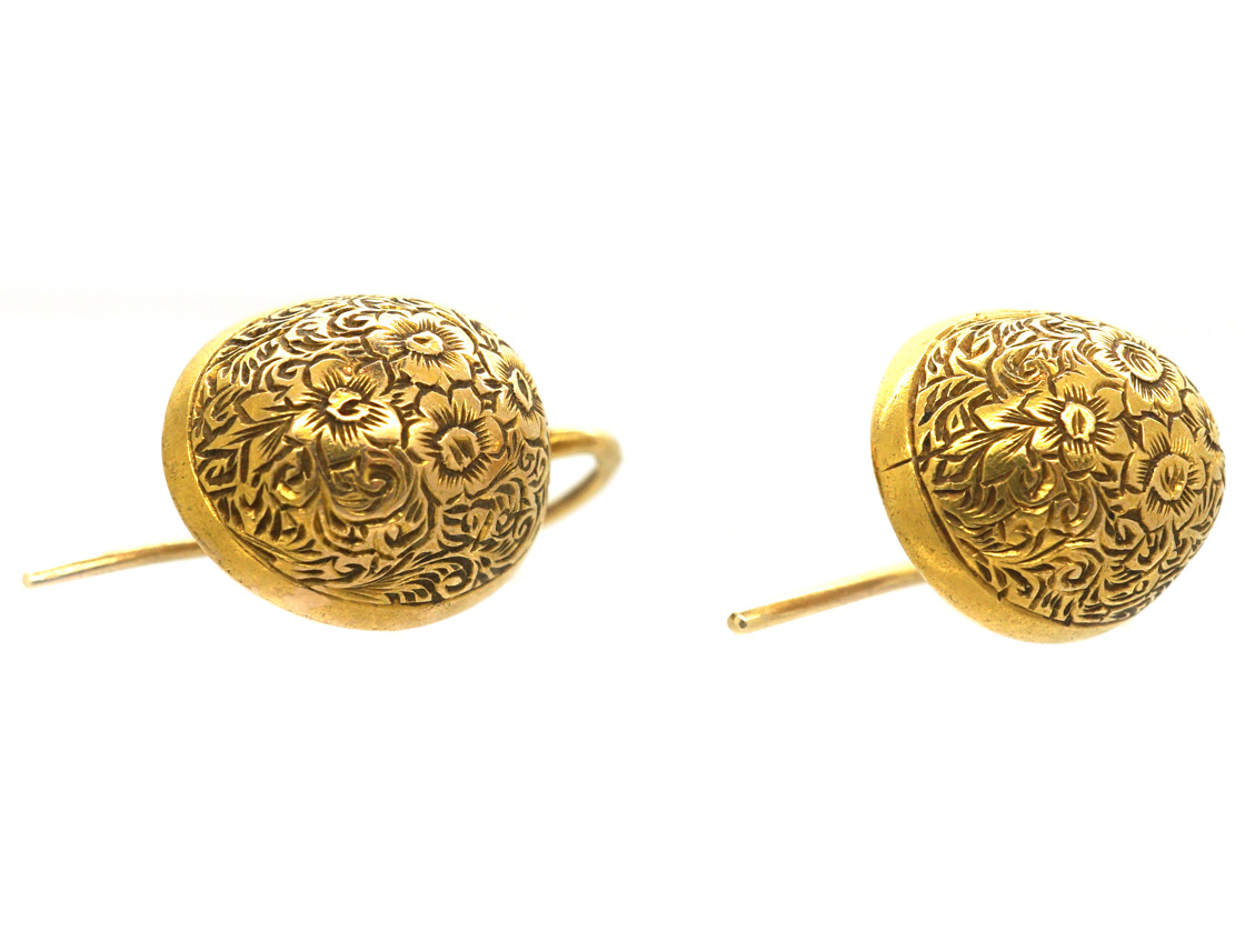 Victorian 15ct Gold Engraved Oval Earrings