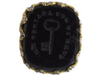 Georgian Pinchbeck Seal with Black Glass Base with Intaglio of Key