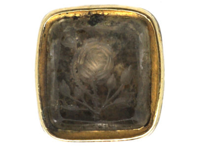Tiny Georgian Gold Cased Seal with Citrine Base with Intaglio of a Rose