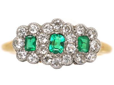 Edwardian 18ct Gold & Platinum Triple Cluster Emerald & Diamond Ring
