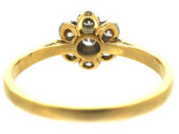 18ct Gold & Platinum, Diamond Cluster Ring with Star Shaped Setting