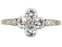 Edwardian 18ct White Gold & Platinum Four Stone Diamond Cluster Ring