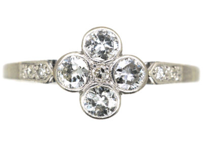 Edwardian 18ct White Gold & Platinum Four Stone Diamond Cluster Ring
