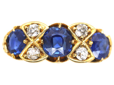 Victorian 18ct Gold Diamond & Sapphire Three Stone Ring