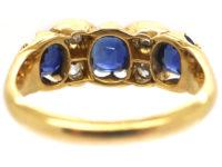 Victorian 18ct Gold Diamond & Sapphire Three Stone Ring