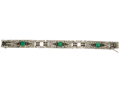 Art Deco Silver Green, Black & White Paste Bracelet