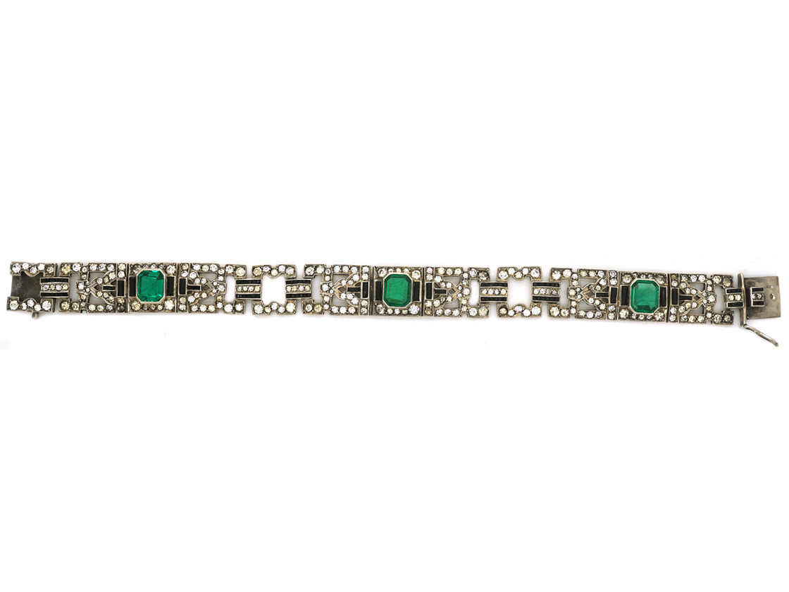 Art Deco Silver Green, Black & White Paste Bracelet