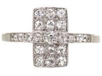 Art Deco 18ct White Gold & Platinum, Diamond Rectangular Ring