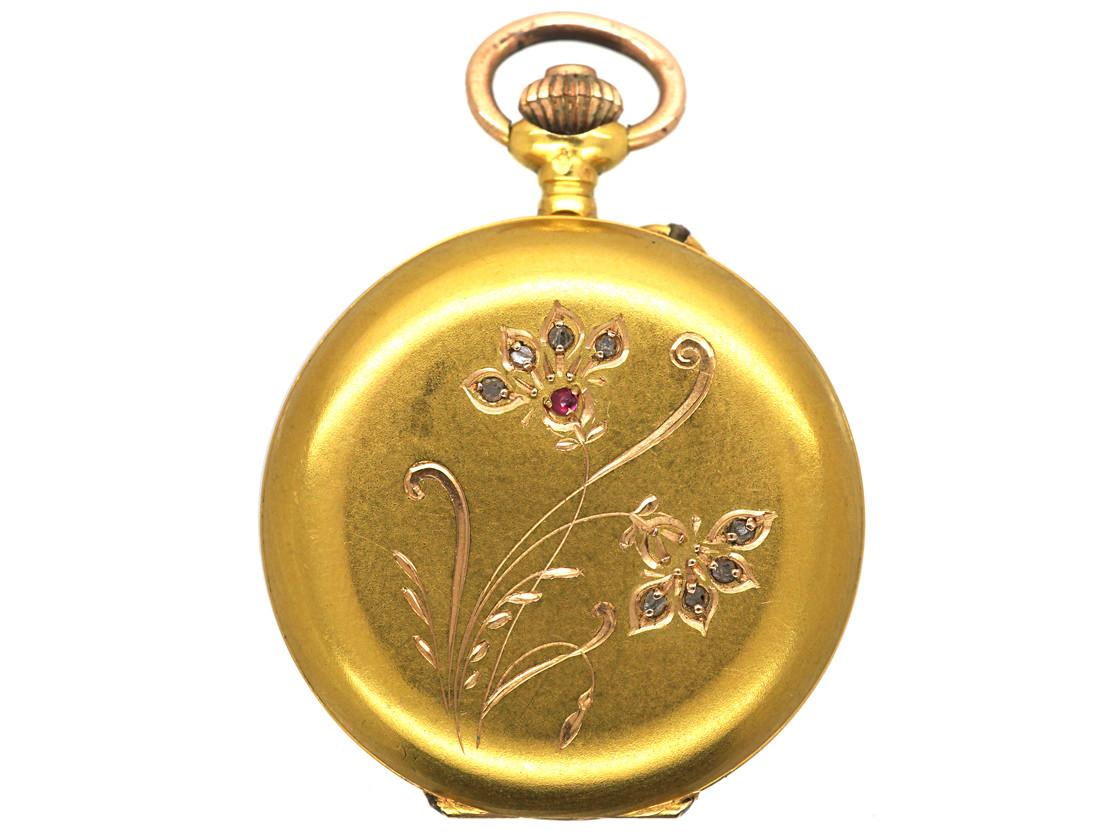 Art Nouveau 18ct Gold Watch set with Rose Diamonds & a Ruby