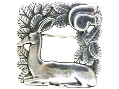 Georg Jensen Silver Brooch of a Doe & a Squirrel by Arno Malinowski