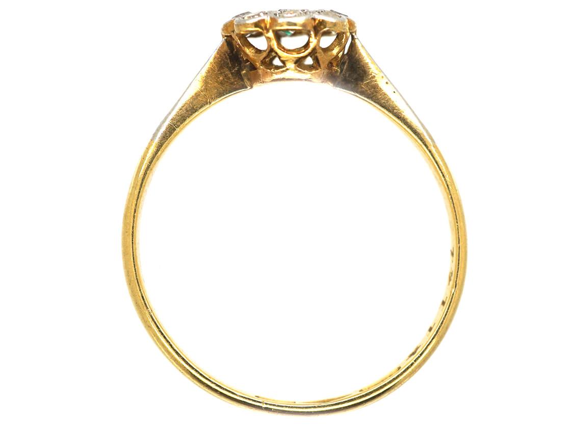 Edwardian 18ct & Platinum, Emerald & Diamond Cluster Ring