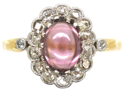 Edwardian 14ct Gold, Diamond & Cabochon Pink Tourmaline Cluster Ring