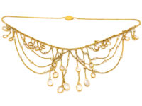 Edwardian 15ct Gold, Moonstone & Natural Pearls Festoon Necklace