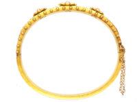 Victorian 15ct Gold Triple Natural Split Pearl Cluster Bangle
