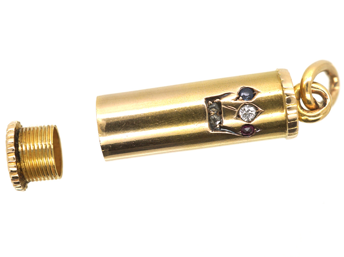 Edwardian 15ct Gold Mezuzah Pendant set with a Ruby, Sapphire & Diamonds