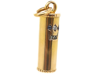 Edwardian 15ct Gold Mezuzah Pendant set with a Ruby, Sapphire & Diamonds