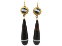 Victorian 15ct Gold & Banded Sardonyx Drop Earrings