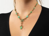 18ct Gold Arts & Crafts Necklace Set With Turquoise & a Diamond