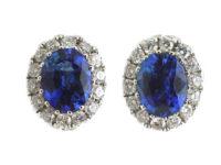 18ct White Gold Sapphire & Diamond Oval Earrings