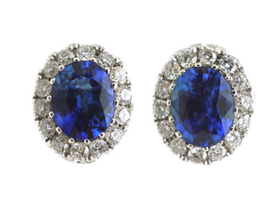 18ct White Gold Sapphire & Diamond Oval Earrings