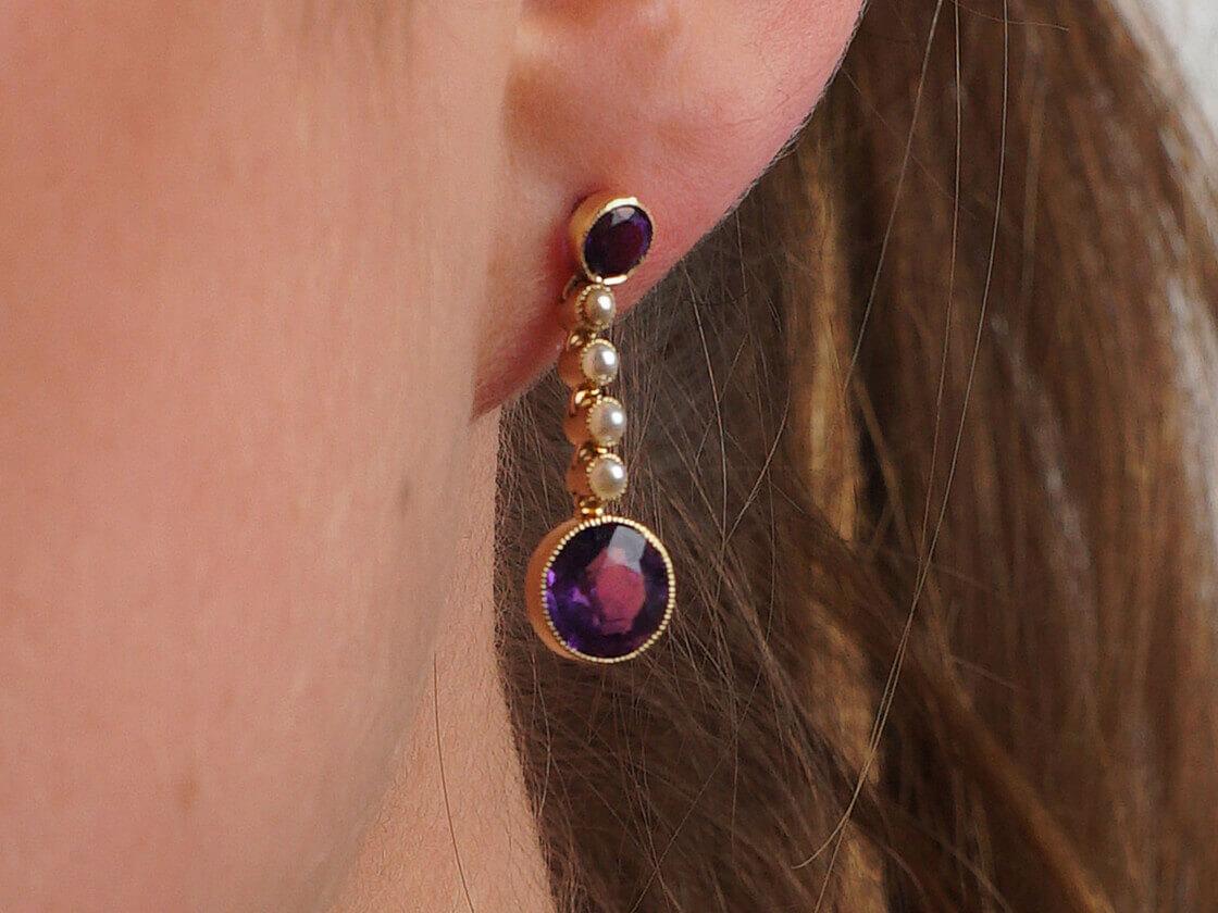 Edwardian 15ct Gold,  Amethyst & Pearl Drop Earrings