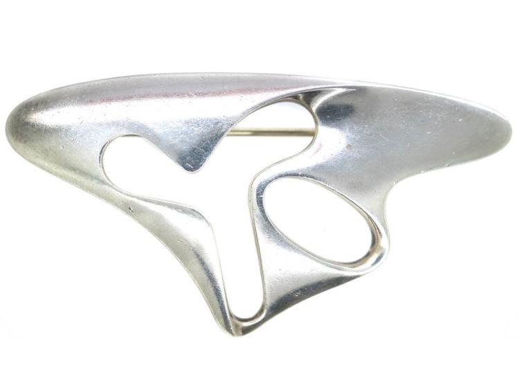 Georg Jensen Silver Modernist Brooch by Henning Koppel