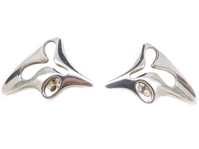 Georg Jensen Silver Earrings Designed by Henning Koppel