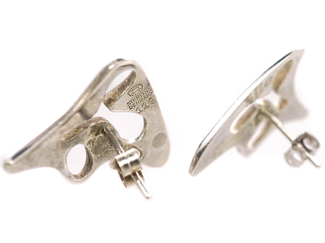 Georg Jensen Silver Earrings Designed by Henning Koppel