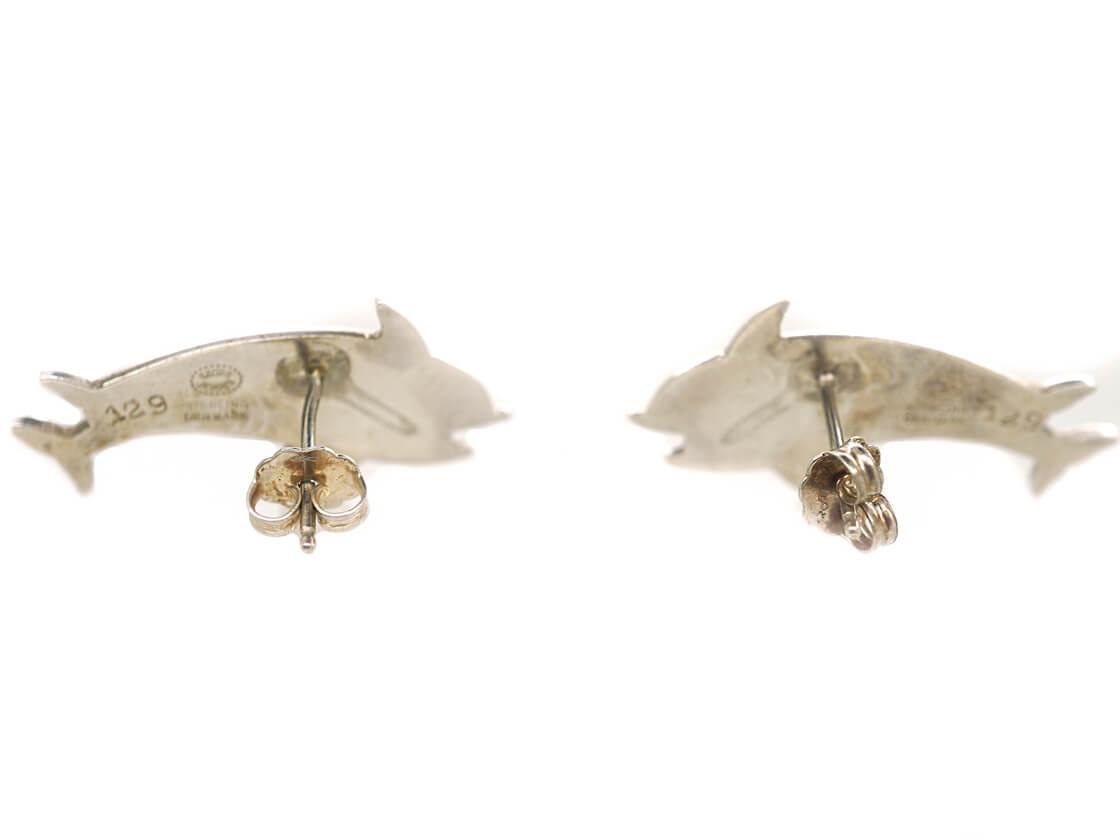 Silver Dolphin Earrings by Arno Malinowski for Georg Jensen