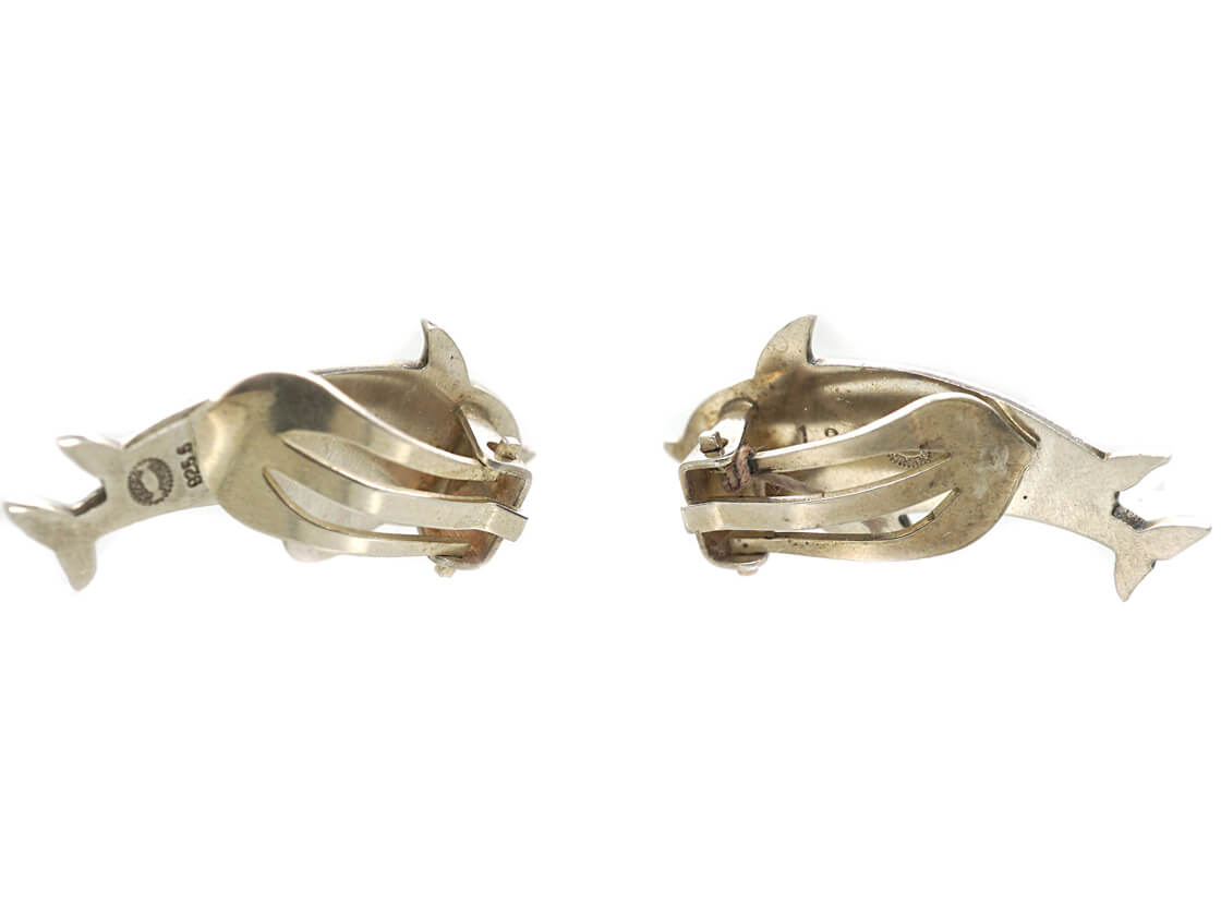 Silver Dolphin Clip On Earrings by Arno Malinowski for Georg Jensen